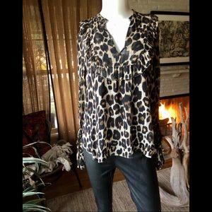Robert Rodriguez Silk Leopard print blouse
